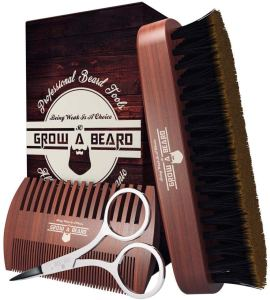grow alpha beard brush and comb set, daily beard care