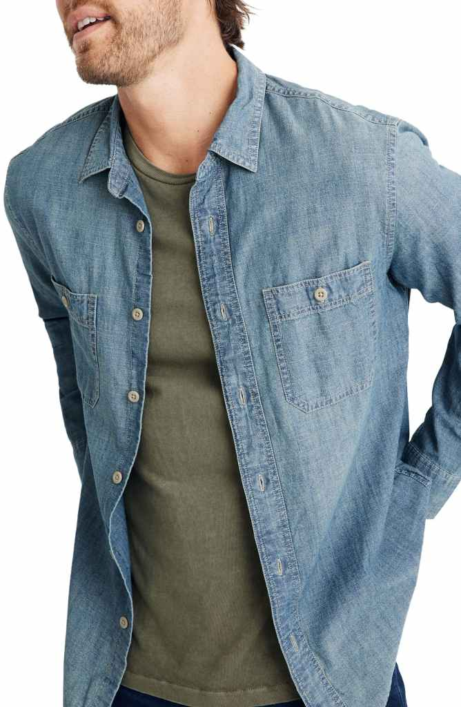madewell chambray shirt mens nordstrom sale