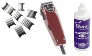 oster professional hair clipper with plastic hair clips and clipper oil