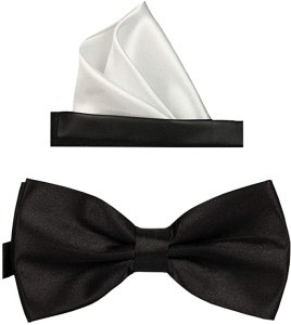 Simpowe Solid Color Bow Tie and Pocket Square Set