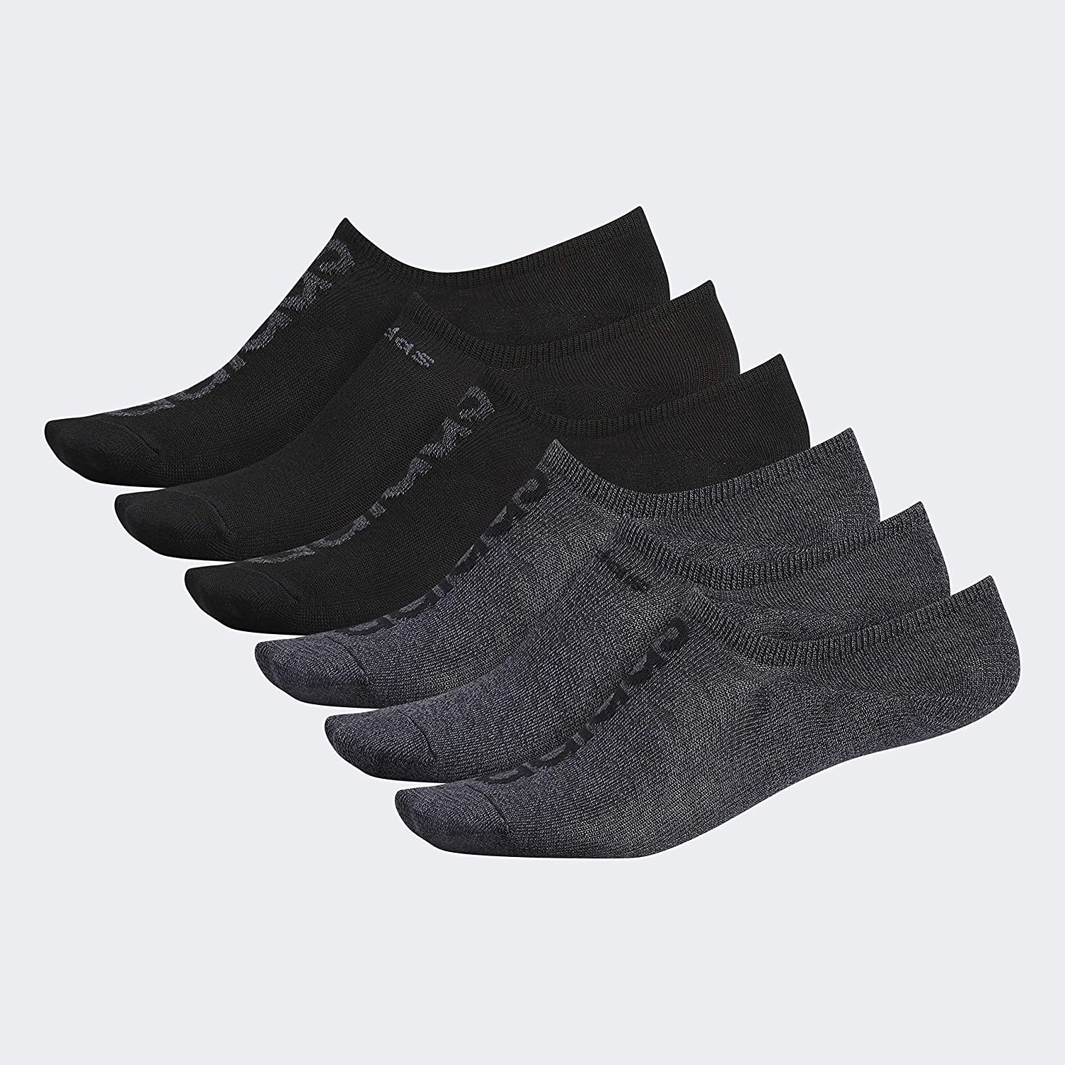 Six pack of Adidas Men's Superlite Super No-Show Socks in black and grey