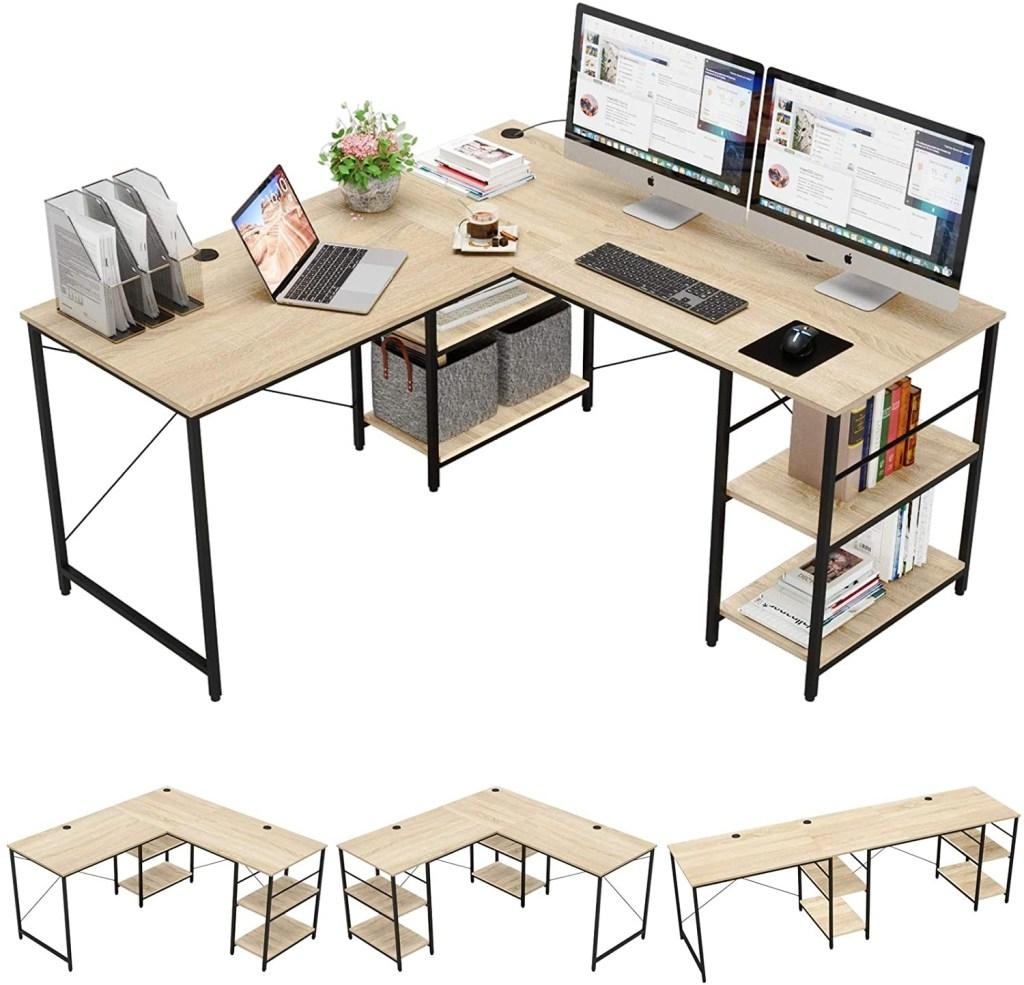 "Bestier 95.5""L-shaped Desk with Storage Shelves"