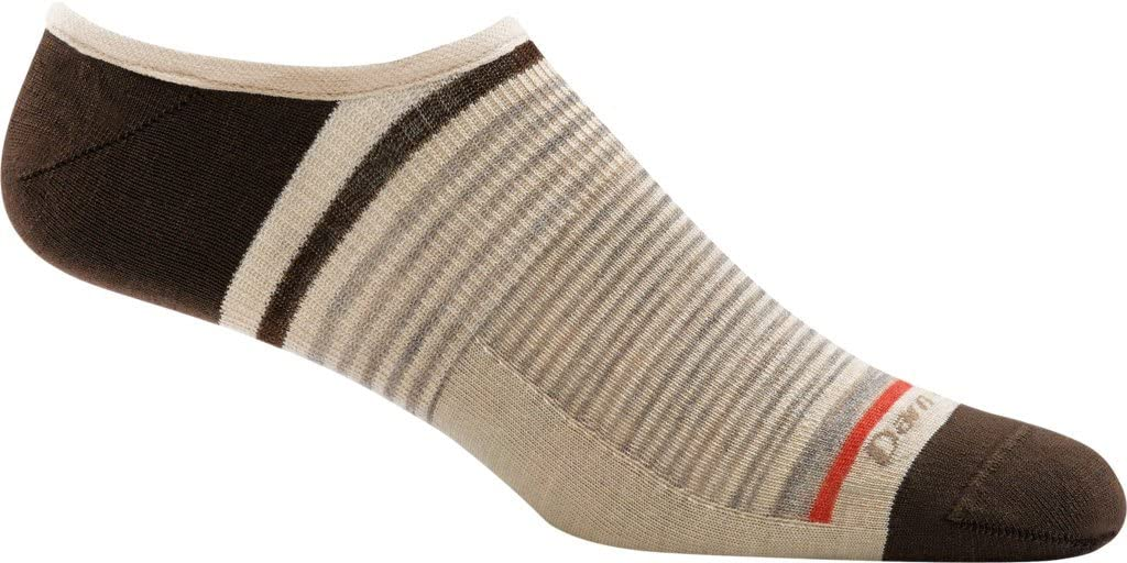 Single pair of Darn Tough no-show light socks in brown and light tan