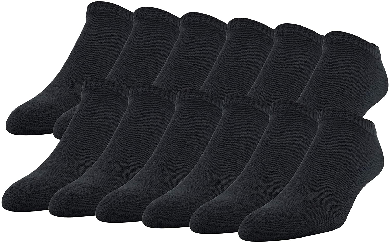 12 pack of Gildan Cotton No-Show Socks in black