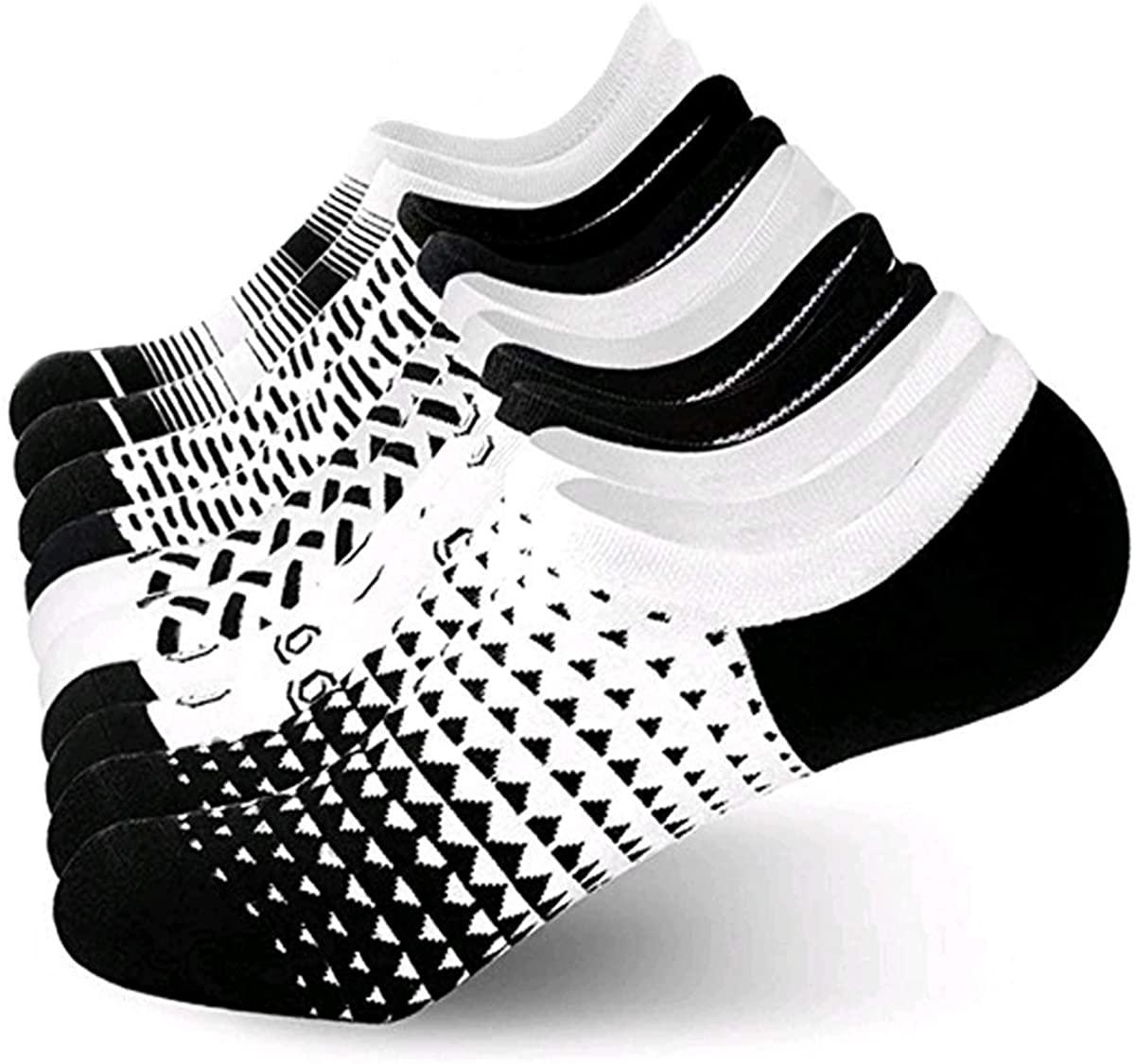 Six pack of Jurgen K No-Show Socks for Men in black and white patterns