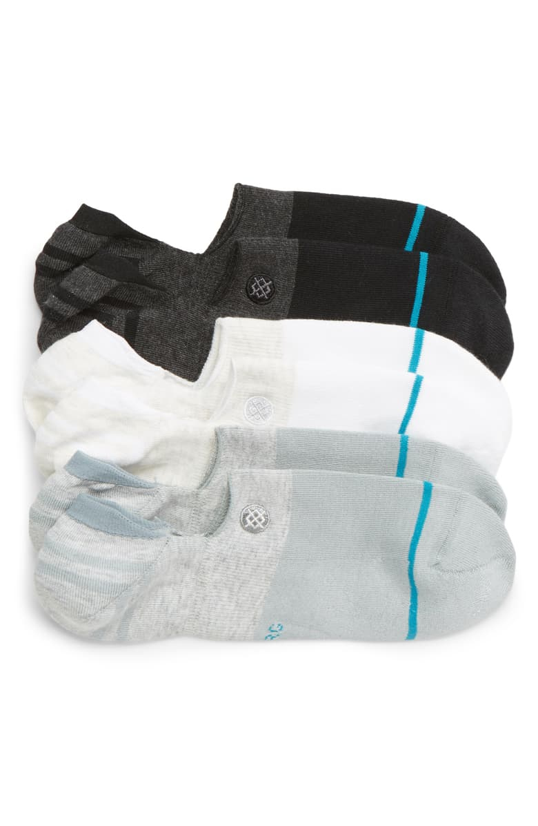Three pack of Stance Gamut No-Show Socks in glack, white and grey, the best no-show socks for men