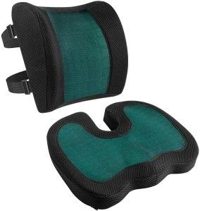 amazon basics seat cushion, back support pillow
