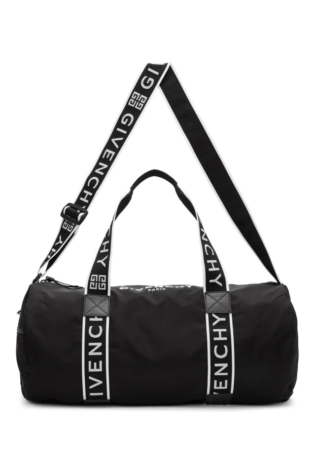 black gym duffel bag
