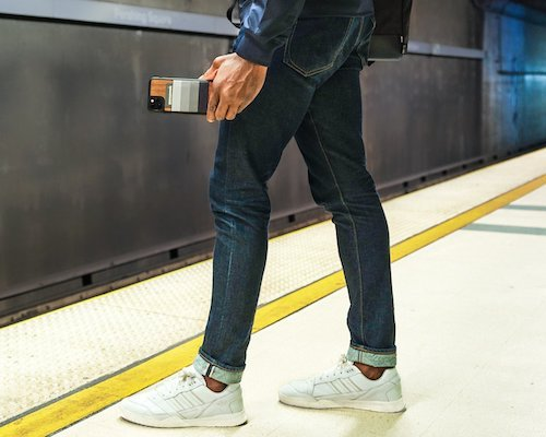 JIMMYCASE iPhone Wallet Case in Grey Stripe