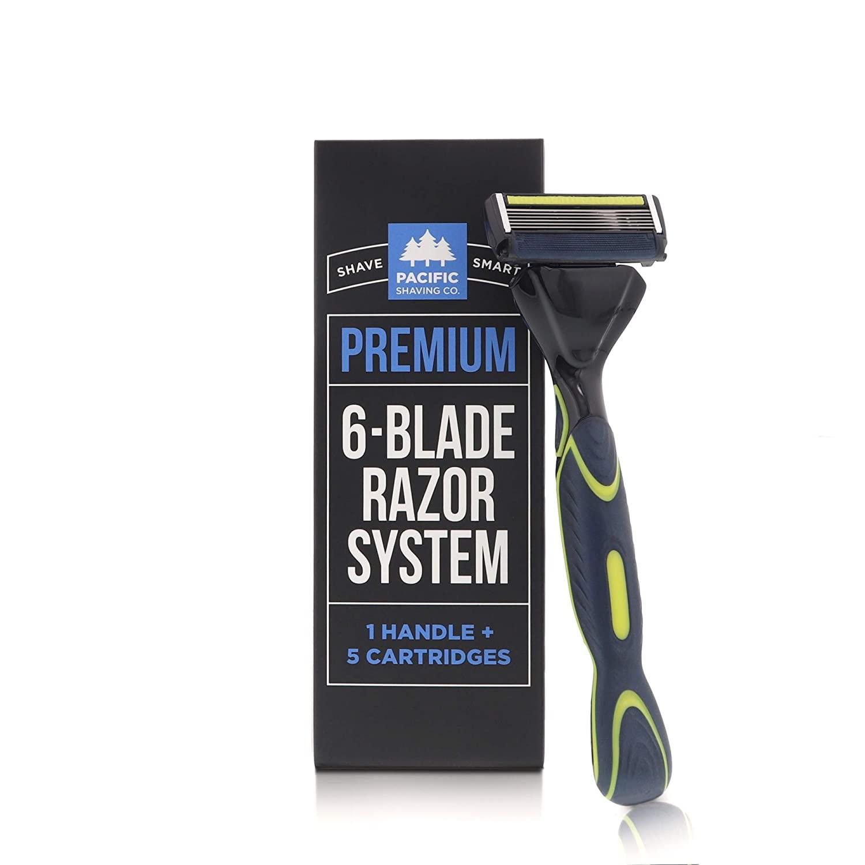 Pacific shaving company 6 blade razor system, 1 handle and 5 razor blade refills; best razor for men