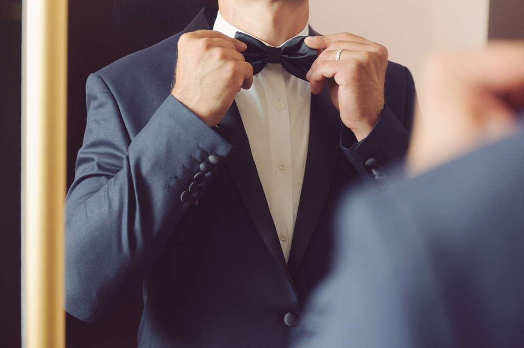 matching black bow tie