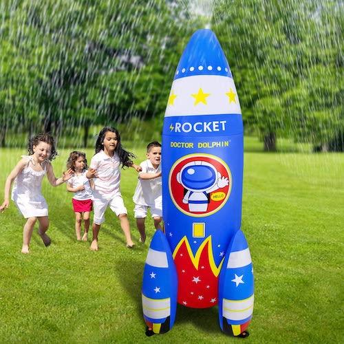 ROYPOUTA Inflatable Backyard Rocket Water Sprinkler For Kids