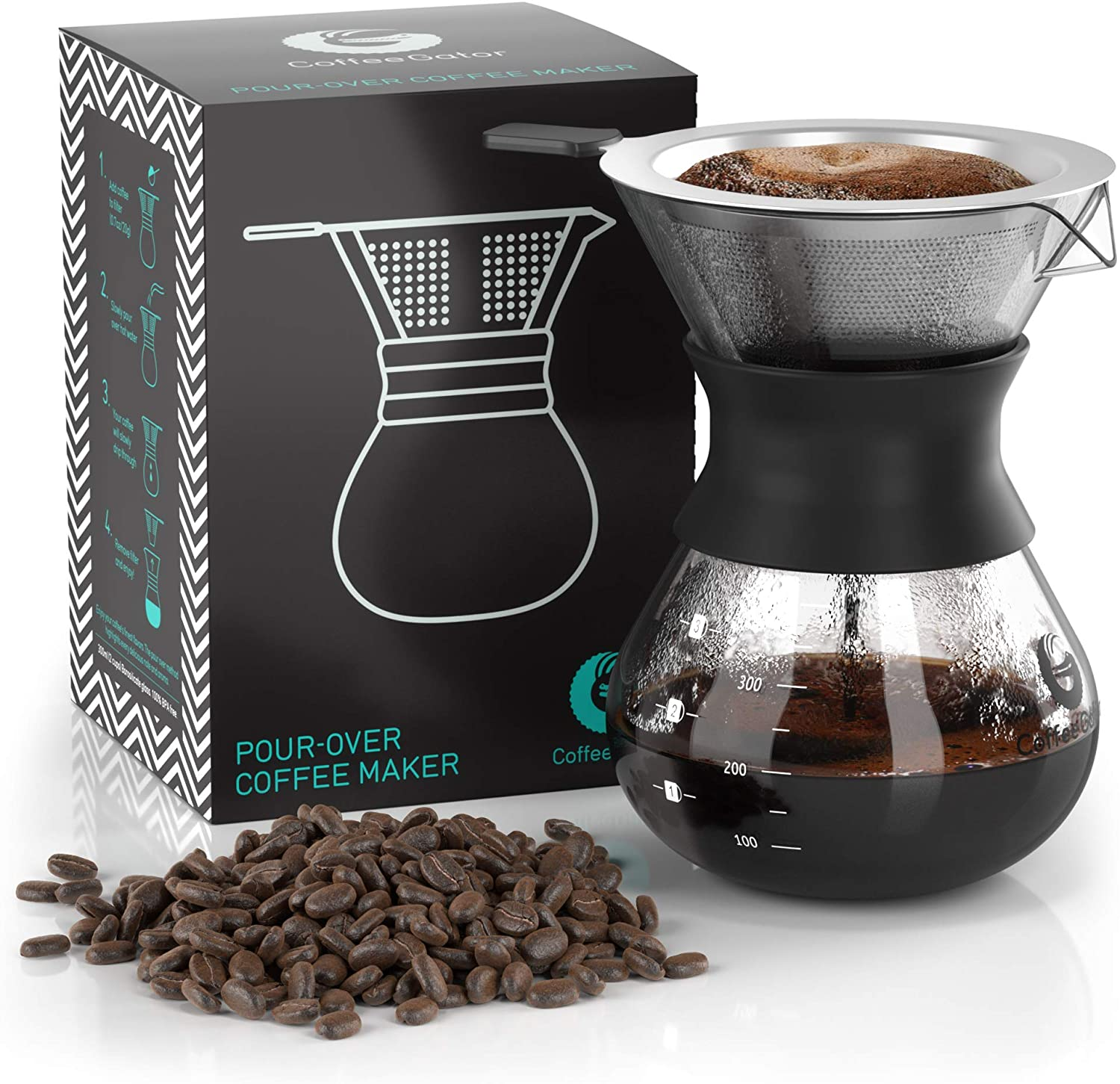 Coffee Gator Paperless Pour Over Coffee Dripper Brewer