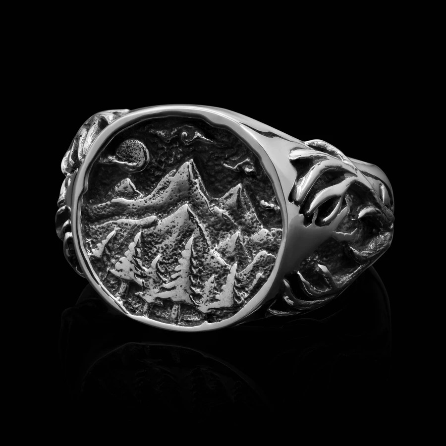 wilderness silver signet ring