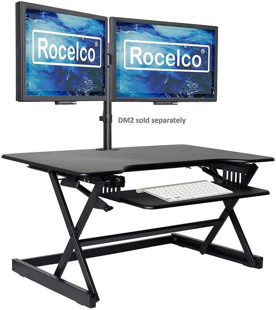 Rocelco 40 inch Large Height Adjustable Standing Desk Converter