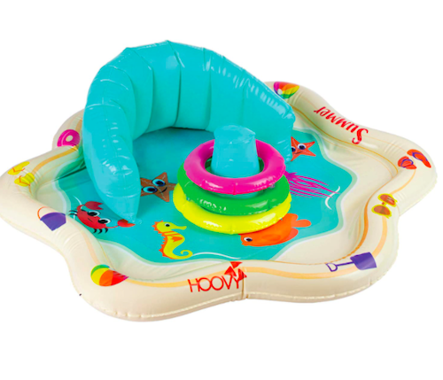 Inflatable Baby Splash Mat with Backrest & Stackable Rings
