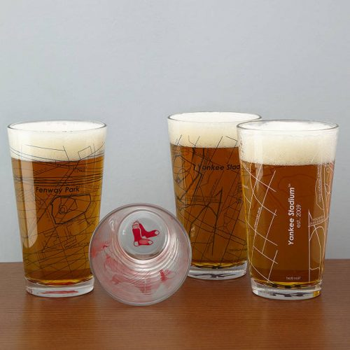 best baseball gifts - Baseball Park Map Pint Glasses