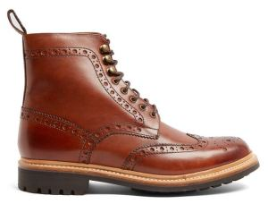 Grensen leather brogue styled combat boots