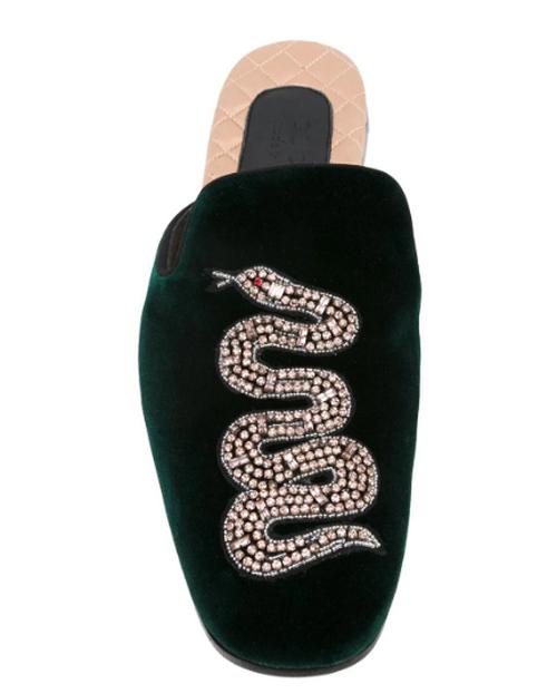best men's slippers - GUCCI KINGSNAKE EMBROIDERED SLIPPERS