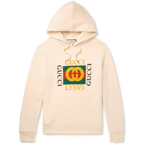 best hoodies for men - Gucci Printed Loopback Cotton-Jersey Hoodie