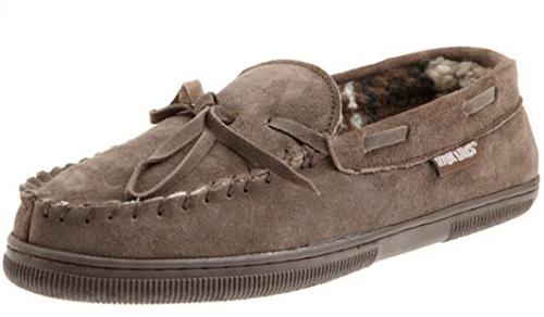 best men's slippers 2020 - MUK LUKS MEN'S PAUL PRINTED BERBER SUEDE MOCCASIN SLIPPER