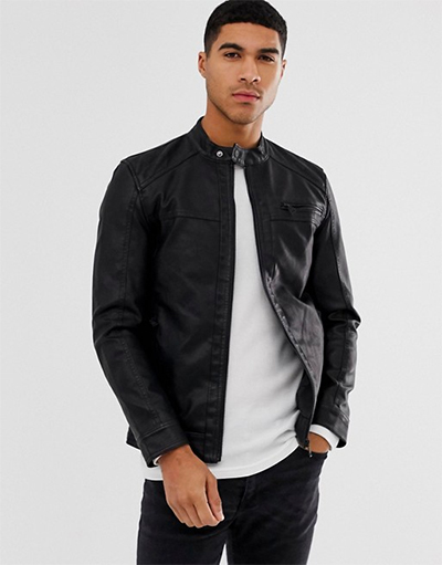best vegan leather jackets for men - only and sons