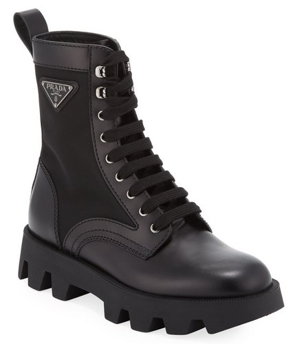 Prada Men's Leather and Nylon Combat boot