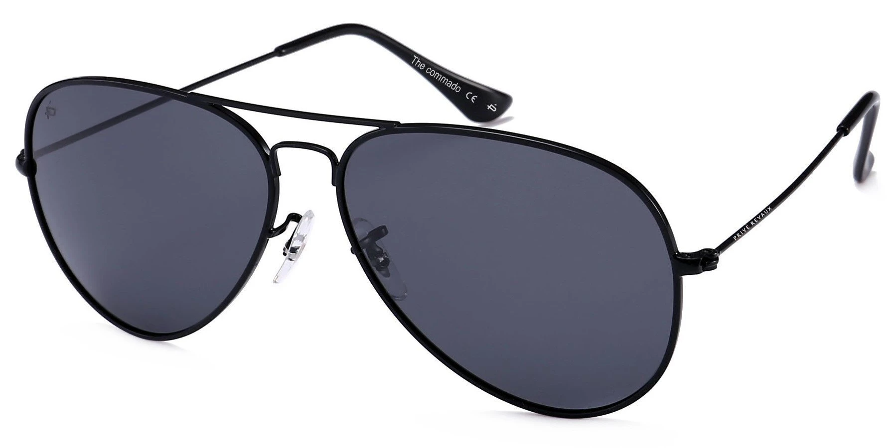 Prive Revaux the commando aviator sunglasses with black frames and black polarized lenses, best aviator sunglasses