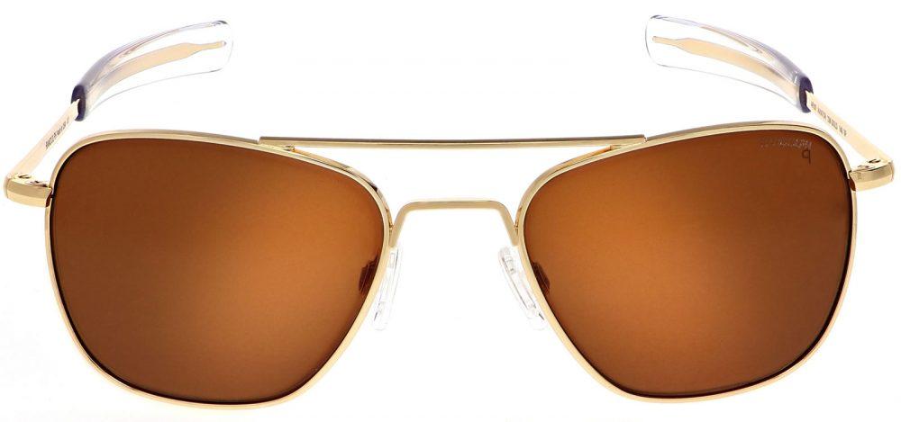 Randolph engineering aviator sunglasses with gold frames and tan polarized lenses, best aviator sunglasses
