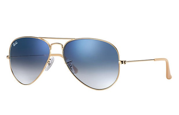 ray-ban gradient aviator sunglasses with gold frames and blue polarized lenses, best aviator sunglasses