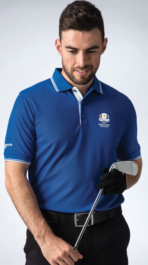 best golf shirts for men - glenmuir blue polo