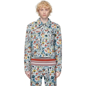 Charles Jeffrey Loverboy Multicolor Denim Shrooms Art Jacket