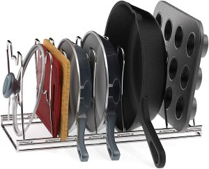 Simple Houseware Adjustable Compartments Pan and Pot Lid Organizer Rack