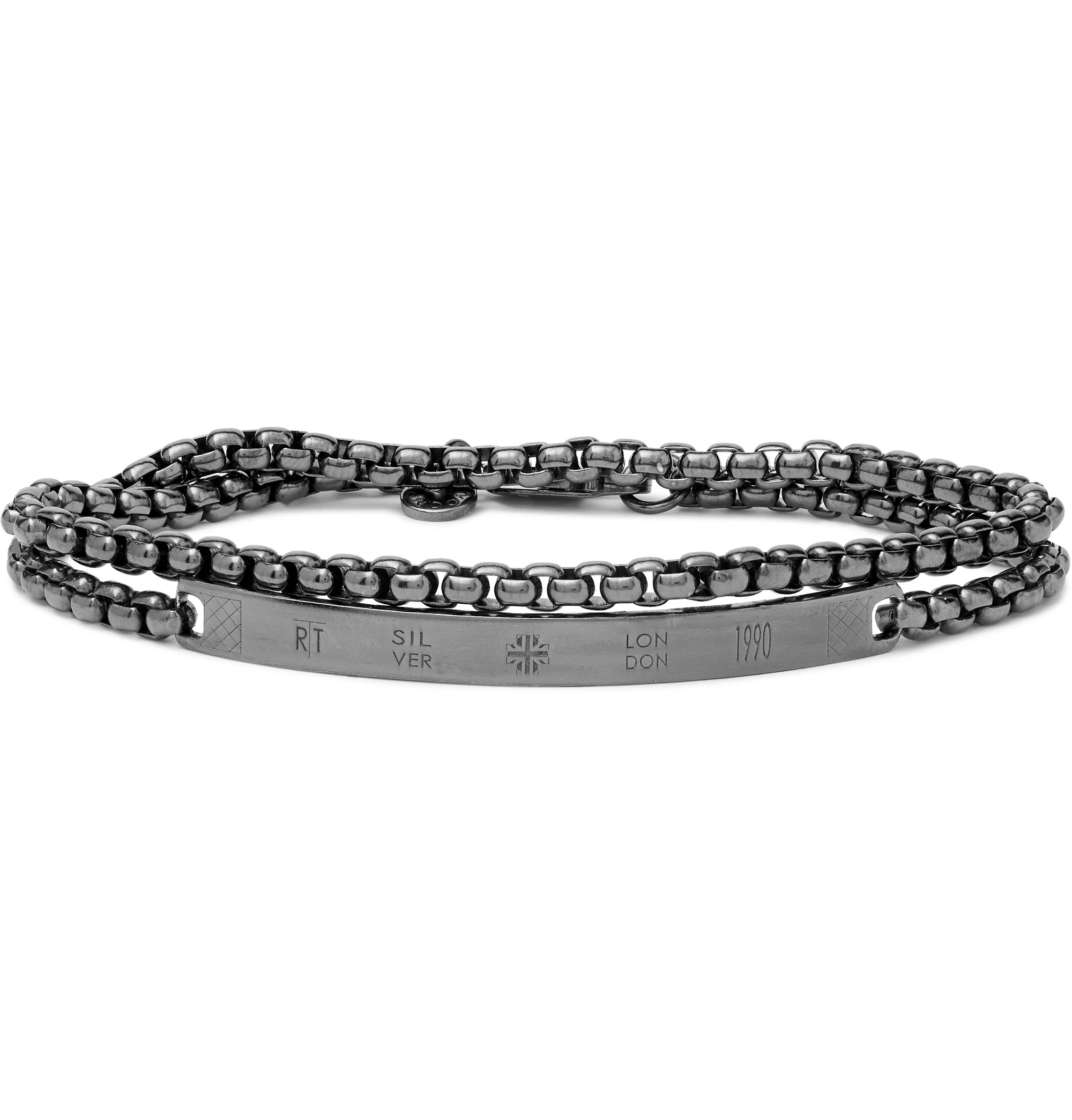 gray silver chain layered bracelet for men