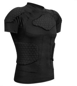 Zicac Men's Sports Shock Rash Guard Compression Padded Shirt