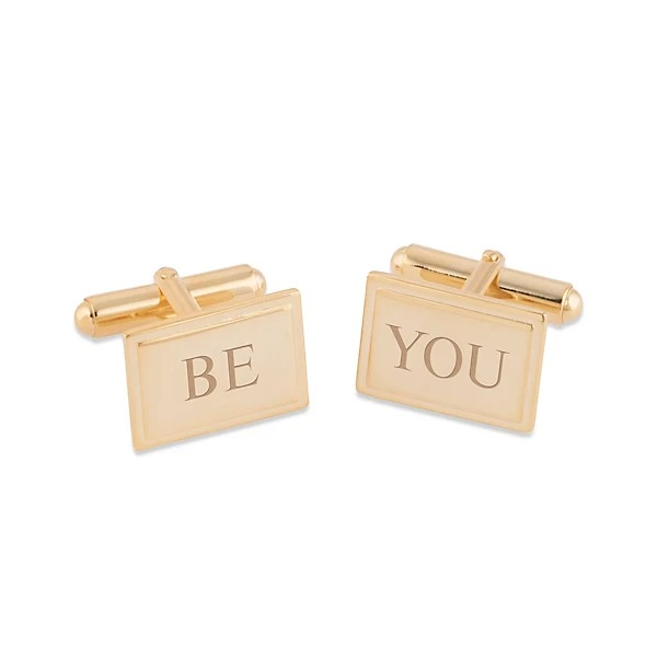14K Gold Plated Sterling Silver Cuff Links, personizable
