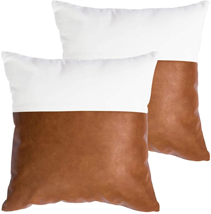 white and leather throw pillow covers