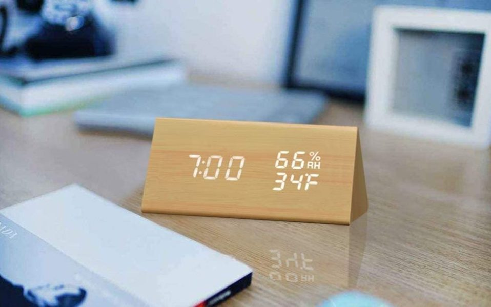 Amazon brand JALL wood alarm clock,