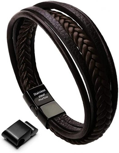 braided leather bracelet men