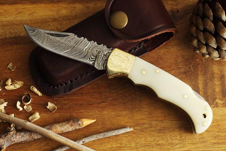 Bone Handle Damascus Folding Knife with sheath