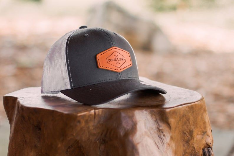 Personizable leather patch trucker hat