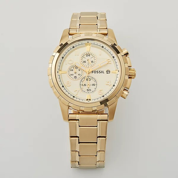 Fossil Men's Gold Plated Dean Chronograph Watch, engravable
