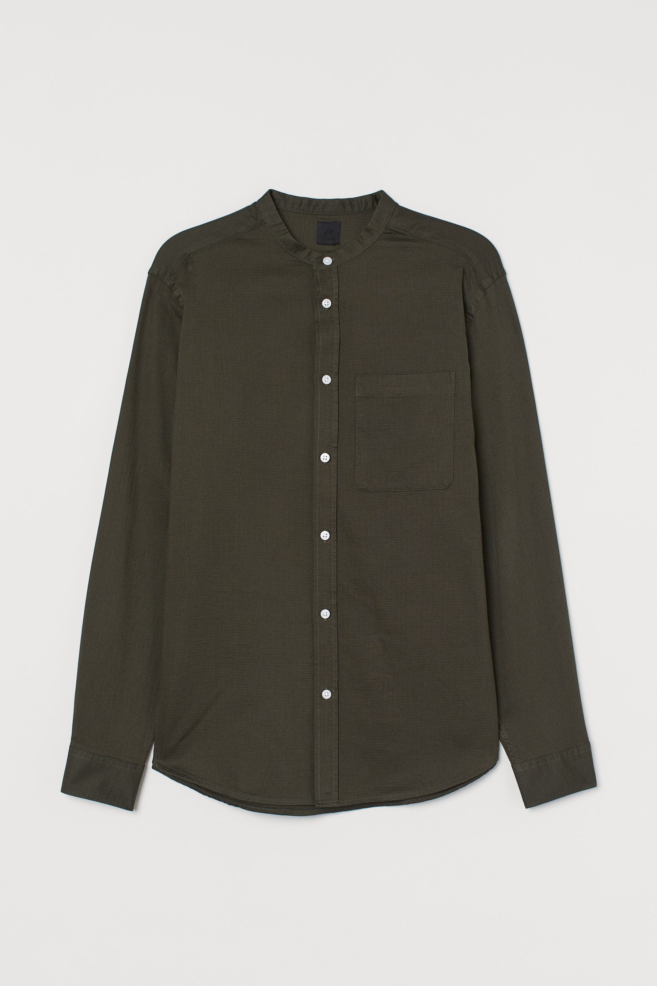 H&M Regular Fit Collarless Shirt