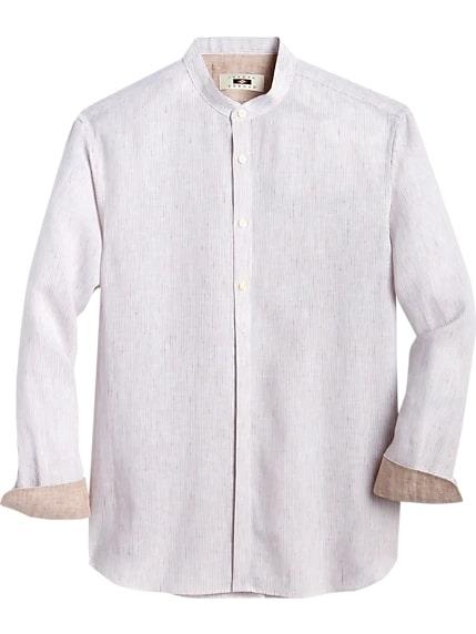 Joseph Abboud Beige Stripe Mandarin Collar Linen Shirt