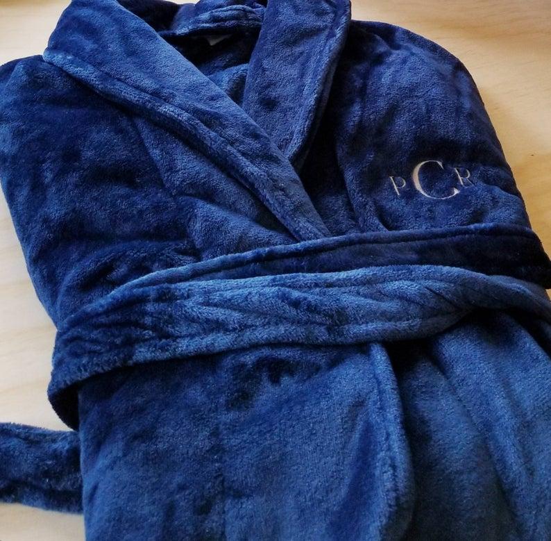 Personalized microfleece plush bathrobe