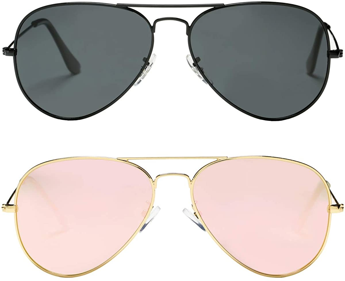 Pro Acme Classic aviator sunglasses, in all black and gold with pink