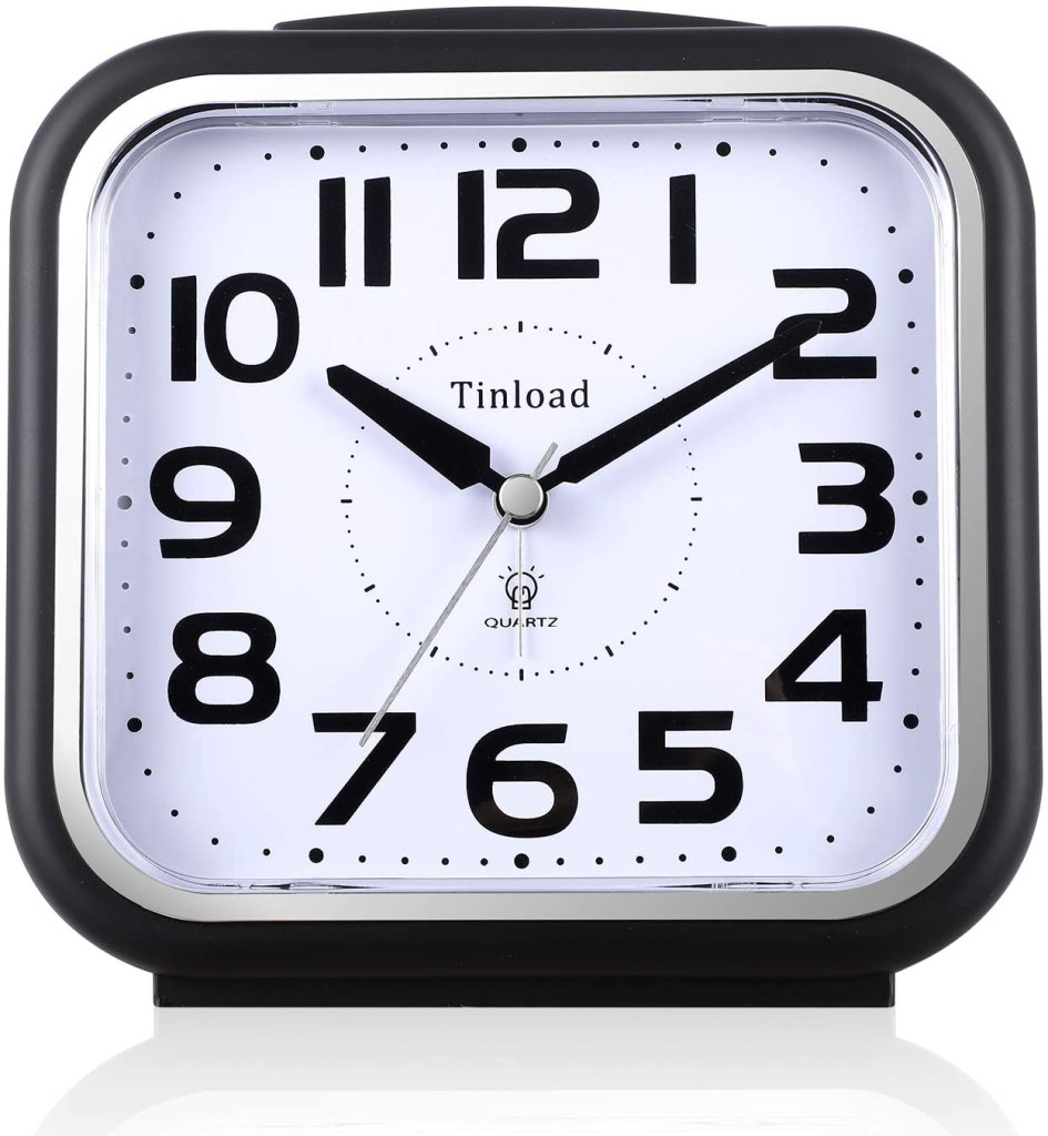 Tinload analog alarm clock in black and white, best alarm clocks