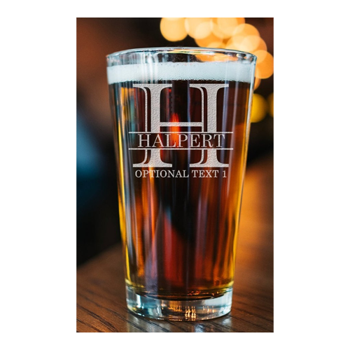 Personalized pint glass with beer