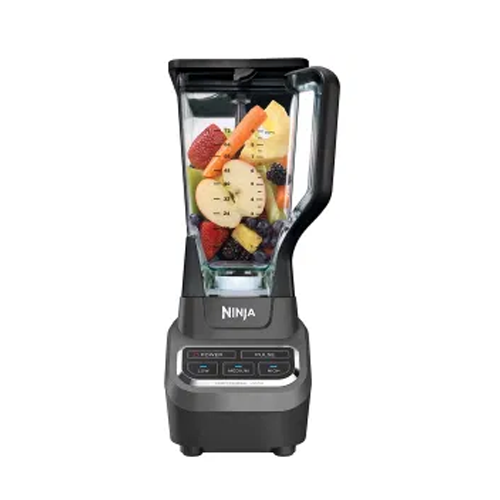 ninja professional 1000 watt blender with fruit in the bowl on a white background