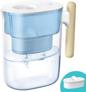 waterdrop wooden handle water pitcher